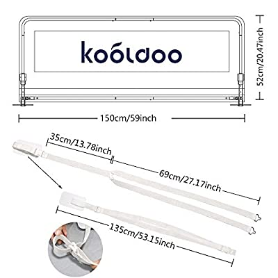 KOOLDOO Bed Rail, 59 Inch Long, White, Foldable, for Babies and Elderly