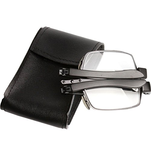 Dollger Metal Frame Folding Reading Glasses Foldable with Mini Case (Black Frame, - Preview Glasses