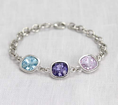 Heirloom Custom Bracelets - Mothers Jewelry, Personalized Grandma Bracelet with Children's Birthstones, Silver Custom Family Keepsake, Grandmother Gift