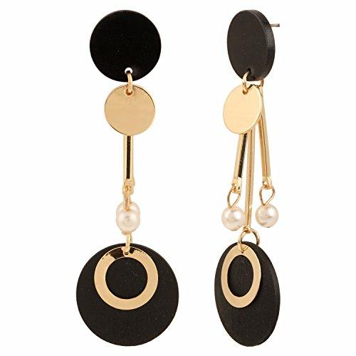 Pearl Metal Gold Plated Earrings (Efulgenz Indian Trendy Designer Gold Plated Stylish Pearl Dangler Earrings Jewelry for Girls & Women)