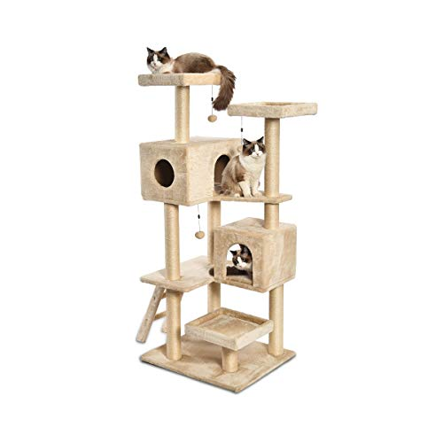 AmazonBasics Extra Large Cat Tree Tower With Dual Condo Cave - 28 x 65 x 24 Inches, ()
