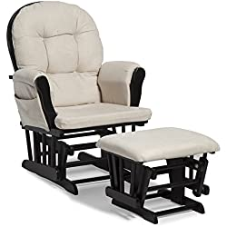 Storkcraft Hoop Glider and Ottoman Set, Black/Beige, Cleanable Upholstered Comfort Rocking Nursery Swivel Chair & Ottoman