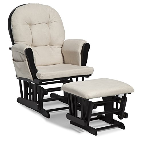 Storkcraft Hoop Glider and Ottoman Set, Black/Beige, Cleanable Upholstered Comfort Rocking Nursery Swivel Chair & Ottoman (3 Piece Body Cushion)