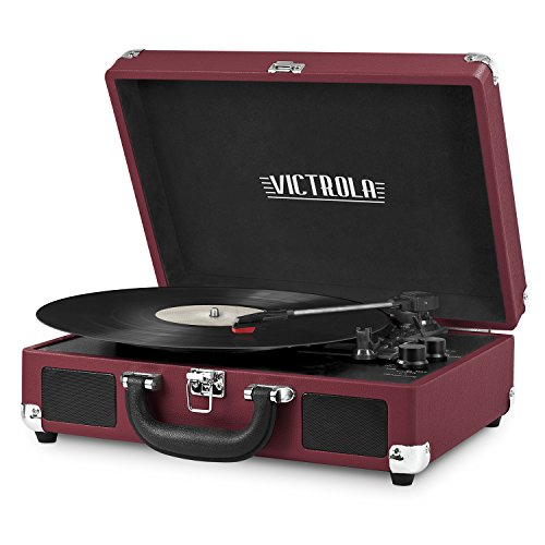 Victrola Vintage 3-Speed Bluetooth Portable Suitcase Record Player with Built-in Speakers | Upgraded Turntable Audio Sound| Includes Extra Stylus | Marsala (VSC-550BT-ML)
