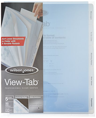 Wilson Jones View Tab Sorter, 8.5 x 11 Inches, Clear - Notebooks View Tab