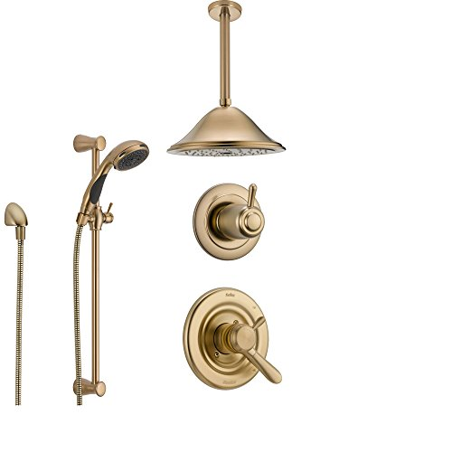 Delta Lahara Champagne Bronze Shower System with Dual Control Shower Handle, 3-setting Diverter, Large Ceiling Mount Showerhead, and Handheld Shower SS173882CZ