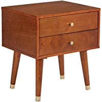 Office Star Cupertino 2-Drawer Wood and Veneer Side Table, Light Walnut Finish
