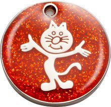 Bow Wow Meow Personalizado Chapa identificativa para Gatos con Forma de Gato de pie con Brillantina en Color Rojo (Pequeño) | Servicio DE Grabado: ...