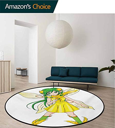 Modern Machine Washable Round Bath Mat,Ice Cream Cones Candies Lollipops Images with Blue Grey Backdrop Image Artwork Print,Non-Slip Living Room Soft Floor Mat Round-63 Inch Multicolor