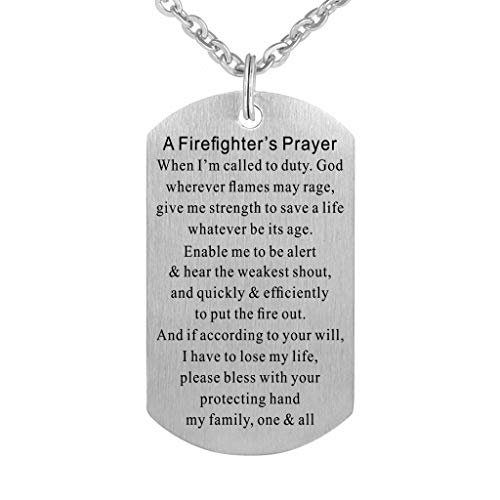 Firefighter Prayer Fire Rescue Brushed Steel Dog Tag Pendant Necklace Gift Jewelry by Freedom Love Gift