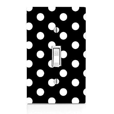 Moonlight Printing White Polka Dot Polka Dots Black Background Light Switch Plate: Home & Kitchen