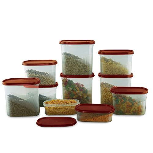 Cello Snapfresh Airtight Plastic Storage Container Set for Kitchen, 10-Pieces, Maroon Price & Reviews