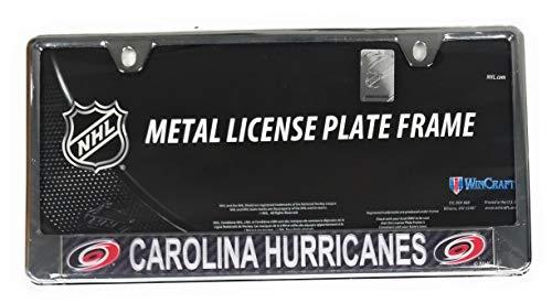 Carolina Hurricanes Carbon Fiber Design Laser Frame Chrome Metal License Plate Tag Cover Hockey