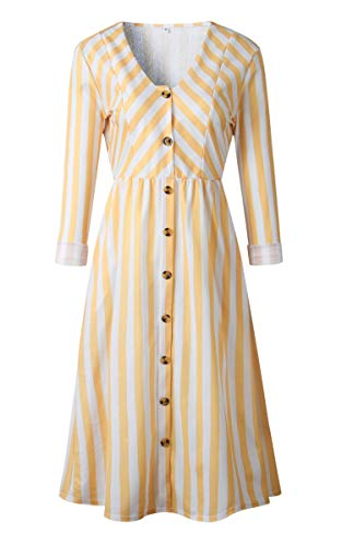 Angashion Women's Dresses-Short Sleeve V Neck Button T Shirt Midi Skater Dress with Pockets 023 Yellow ()