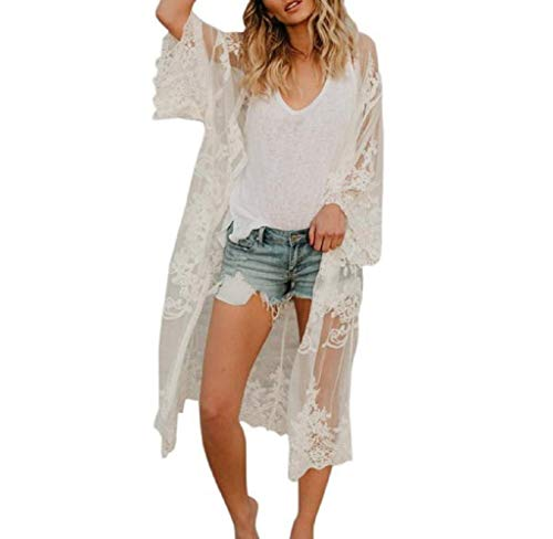 Wobuoke Women Floral Chiffon Loose Half Sleeve Shawl Print Kimono Cardigan Top Cover Up Blouse Beachwear (Y White, One Size)