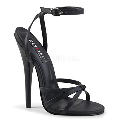 Devious Women's DOMINA-108 Sandal, Black Polyurethane, 9 M