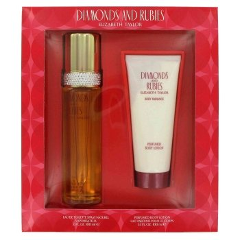 DIAMONDS & RUBIES Women Gift Set Eau de Toilette 3.3oz Spray + 3.3oz LOTION by Elizabeth Taylor - Elizabeth Taylor Rose Body Lotion