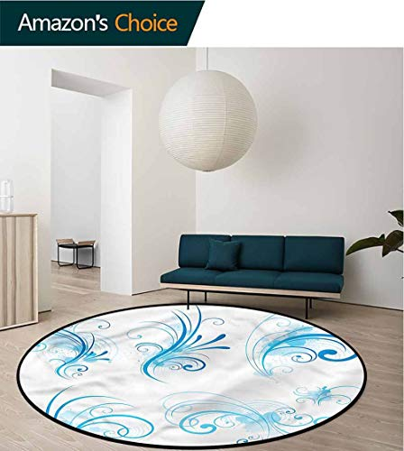 RUGSMAT Blue and White Modern Vintage Rugs,Swirls Floral Curls Non-Slip No-Shedding Kitchen Soft Floor Mat Diameter-51 (Velvet Rug Swirl)