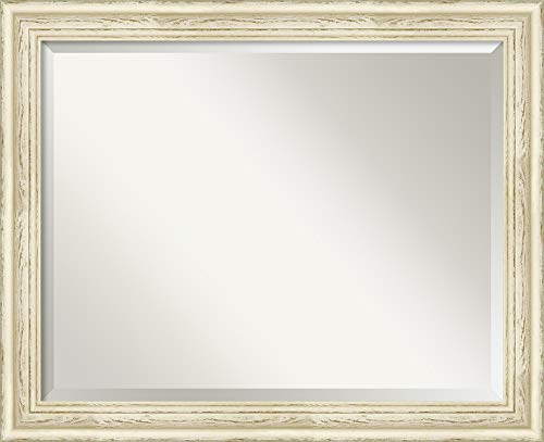 Amanti Art Framed Mirrors for Wall | Country White Wash Mirror for -