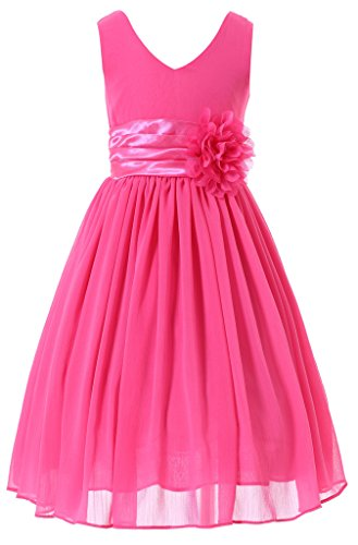 Bow Dream Flower Girl Dress Junior Bridesmaids V-Neckline Chiffon Fuchsia - Little Kids Fuchsia Apparel