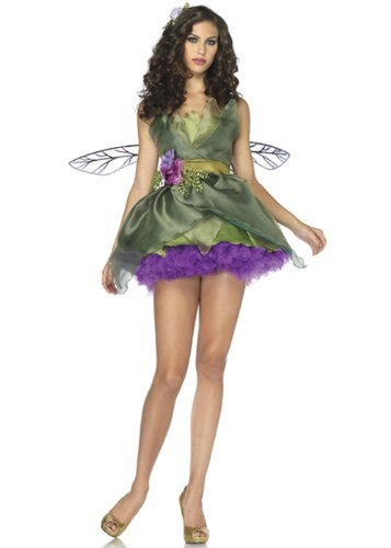 [Leg Avenue Women's Woodland Fairy Costume, Green, Large] (Fairy Halloween Costumes For Adults)