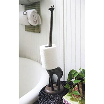 Comfify Standing Cast Iron Giraffe Decorative Paper Towel Holder Stand,  Standing Toilet Tissue Holder Storage