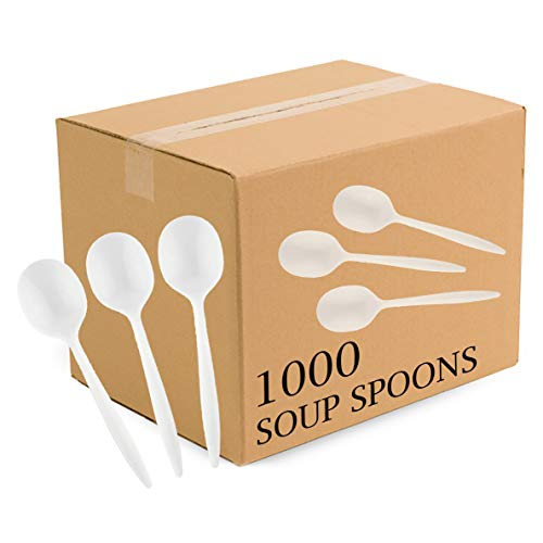 Plasticpro Cutlery Plastic Soup Spoons Medium Weight Disposable Silverware White (1000 - Plastic Spoon White Soup