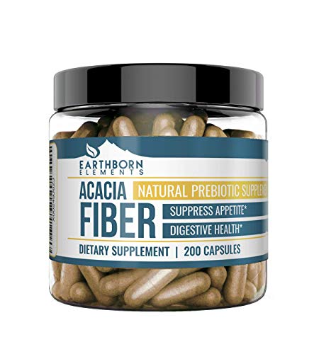 Acacia Fiber Capsules, 200 Capsules (1,300 MG per Serving) (25-Day Supply) by Earthborn Elements, Natural Fiber Powder, for Overall Digestive & Heart Health*, Manage Appetite & Weight Loss*