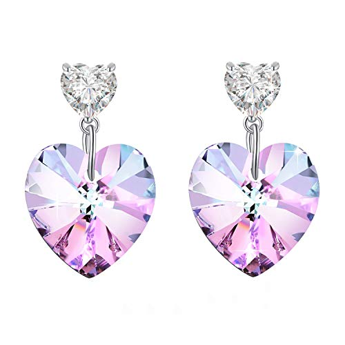 PLATO H Women Heart Drop Earrings with Crystal from Swarovski, Love Heart Dangle Earrings for Girls, Purple Heart Crystal Earrings, Purple Pink Crystal Heart Earrings ()
