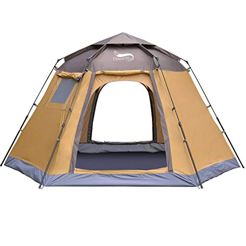 DESERT & FOX Automatic Pop-up Tent, 4-5 Person Outdoor Instant Setup 4 Season Portable Backpacking Tent with Carry Bag…