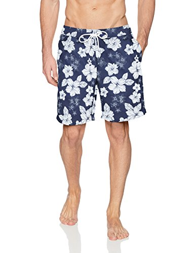 Amazon Essentials Men's Quick-Dry Print 9'' Swim Trunk, Navy Hibiscus Print, Large by Amazon Essentials