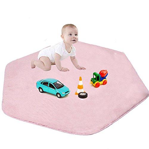 Beebeerun Kids Play Mat Pink Hexagon Pad Mat Coral Soft Carpet for Kids Play Tent