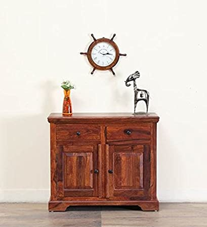 SARSWATI HANDICRAFT Solid Wood Two Door Cabinet in Honey Oak Finish