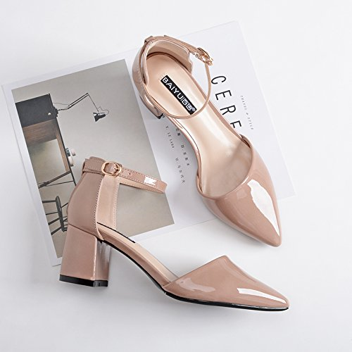Couleur Code Sandales Mot Souligné Femme Petite Un Chaussures SHOESHAOGE unie Printemps Han Fan Talon Rugueux Baotou Boucle wfEZxq