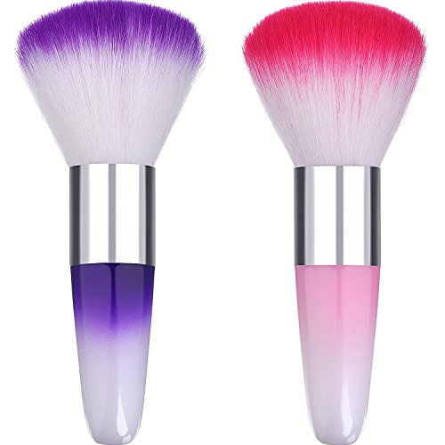 eBoot 2 Pieces Soft Nail Art Dust Remover Powder Brush Cleaner for Acrylic and Makeup Powder Blush Brushes (Pink, Purple)