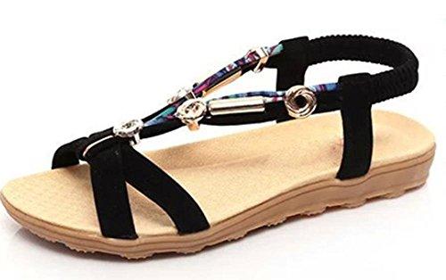 Damen Sandalen Sommer offene Sandalen weibliche Blüten wulstige flache Sandalen black