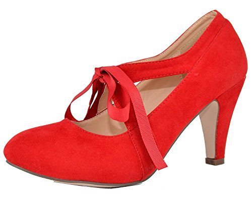 Chase & Chloe Women's Vintage Bow Mary Jane High Heel Pump (9 B(M) US, ()