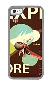 Apple Iphone 5C Case,WENJORS Adorable Vintage Space Poster Series I Explore Space Its Fun Soft Case Protective Shell Cell Phone Cover For Apple Iphone 5C - TPU Transparent