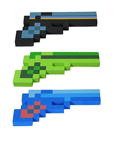 8 Bit Pixelated Costume (8 Bit Pixelated Blue Diamond, Black Stone & Green Zombie Foam Gun Set of 3)