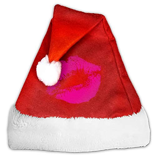 Santa Hat Thick Plush Christmas Hat Fancy Hat Comfort Warm - Lipstick Kiss -