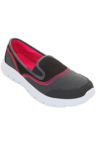 Femmes GrisRose Baskets Léger Sport Chaussures Fantasia Marche Pour Boutique Salle De À Enfiler Confortable Plat dCQWExBore