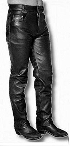 Mens 5 pocket Pants Leather Jeans Pant SouthBeachLeather  Black (35)