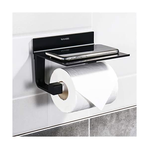 41PGlAedDUL Wangel Toilettenpapierhalter ohne Bohren, Patentierter Kleber + Selbstklebender Kleber, Aluminium, Matte Finish