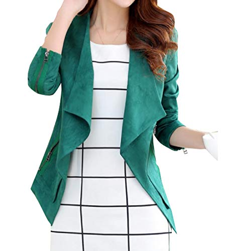 Howme-Women Suede Fabric Open Front Irregular Elegent Coat Jacket Blackish Green