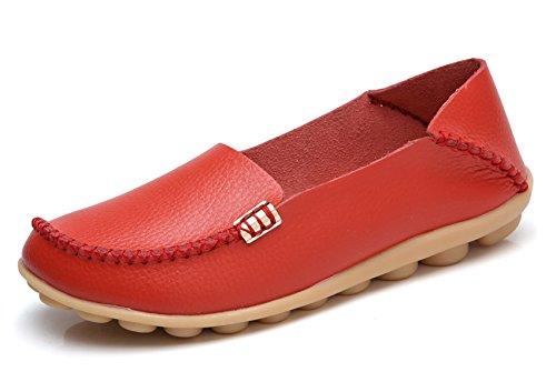 - VenusCelia Women's Natural Comfort Walking Flat Loafer(10 M US,red)