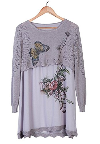 ECSEO Womens Butterfly Flowers Print Thin Crochet Long Sleeve Linen Knit Blouse (Grey)
