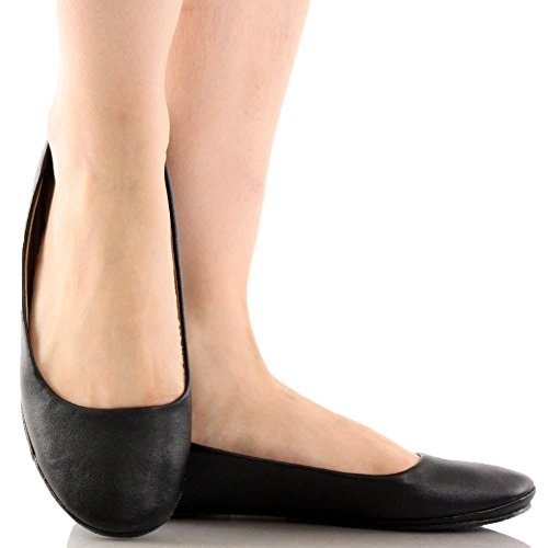 Toe Sully's Black Comfort 5 Afar Womens Casual Flat Afar Rounded Simple Ballet 8 Pu qwWHwXUBF