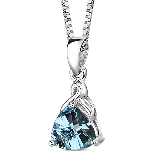 Swiss Blue Topaz Pendant Necklace Sterling Silver Trillion Cut 2.00 ()