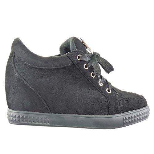 Angkorly - damen Schuhe Sneaker Keilabsatz - metallisch - golden Keilabsatz high heel 7 CM - Schwarz