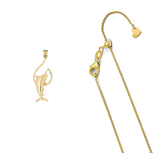 14K Yellow Gold Marlin Pendant on an Adjustable 14K Yellow Gold Round Cable Chain Necklace, 22